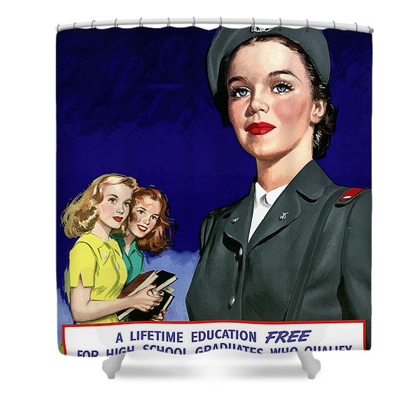 WW2 US Cadet Nurse Corps Shower Curtain by War Is Hell Store