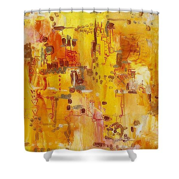Yellow Conundrum Shower Curtain by Regina Valluzzi