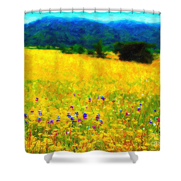 Yellow Hills Shower Curtain by Wingsdomain Art and Photography