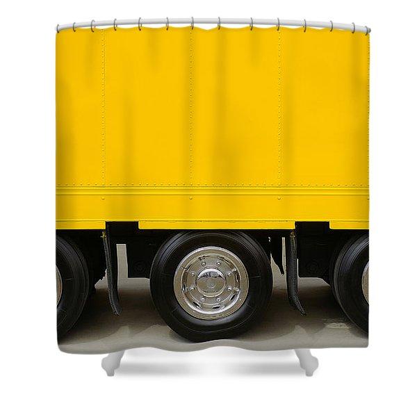 Yellow Truck Shower Curtain by Carlos Caetano