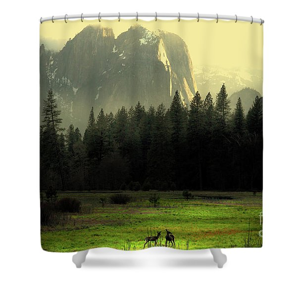 Yosemite Village Golden Shower Curtain by Wingsdomain Art and Photography