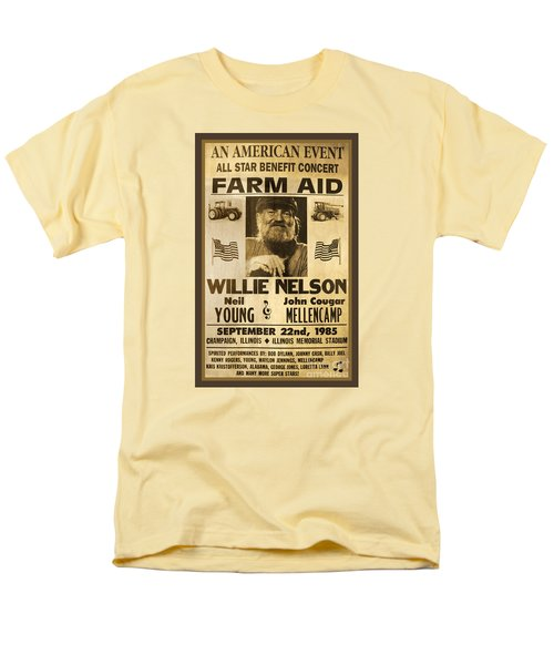 Vintage Willie Nelson 1985 Farm Aid Poster Men's T-Shirt  (Regular Fit) by John Stephens