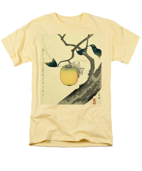 Moon Persimmon And Grasshopper Men's T-Shirt  (Regular Fit) by Katsushika Hokusai