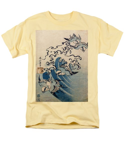 Waves And Birds Men's T-Shirt  (Regular Fit) by Katsushika Hokusai