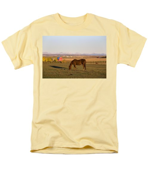 A Brown Horse Grazing In A Field In T-Shirt by Michael Interisano