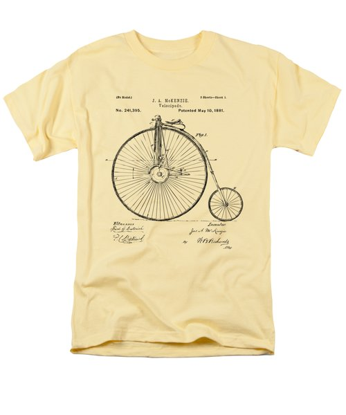 1881 Velocipede Bicycle Patent Artwork - Vintage Men's T-Shirt  (Regular Fit) by Nikki Marie Smith