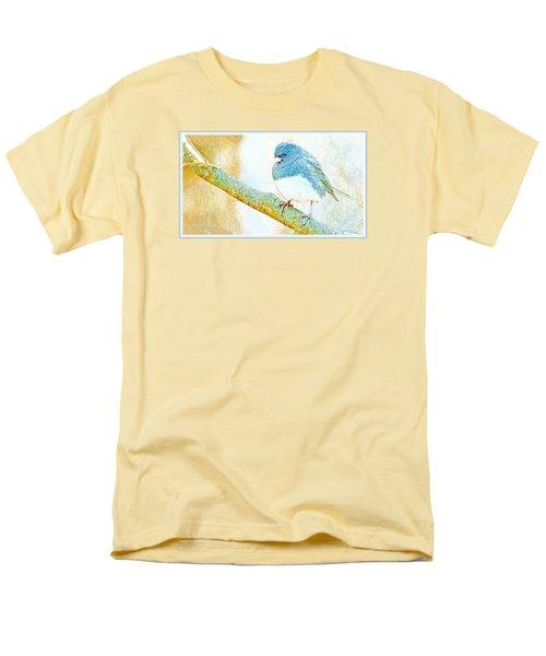Men's T-Shirt  (Regular Fit) featuring the digital art Slate Colored Junco Snowbird Male Animal Portrait by A Gurmankin