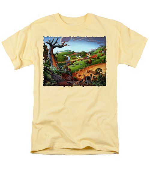 Appalachian Fall Thanksgiving Wheat Field Harvest Farm Landscape Painting - Rural Americana - Autumn Men's T-Shirt  (Regular Fit) by Walt Curlee