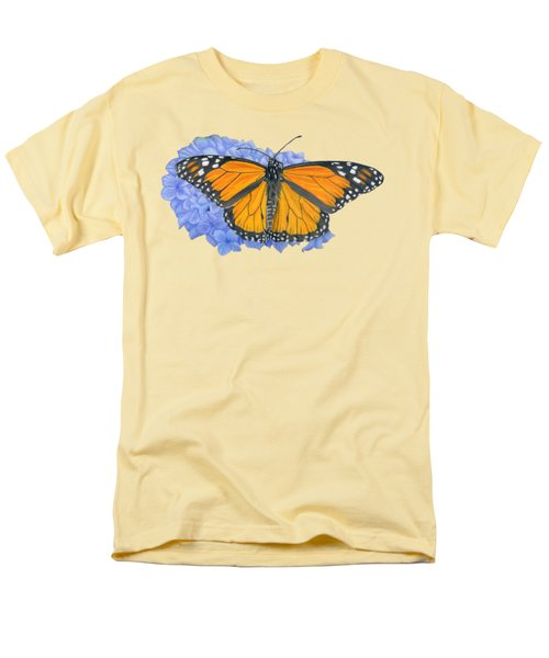 Monarch Butterfly And Hydrangea- Transparent Background Men's T-Shirt  (Regular Fit) by Sarah Batalka