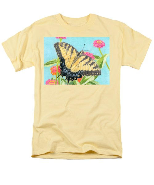 Swallowtail Butterfly And Zinnias Men's T-Shirt  (Regular Fit) by Sarah Batalka