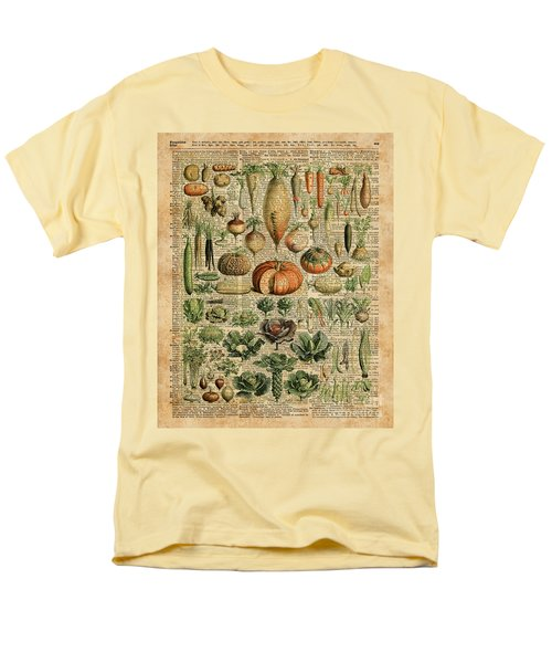 Autumn Fall Vegetables Kiche Harvest Thanksgiving Dictionary Art Vintage Cottage Chic Men's T-Shirt  (Regular Fit) by Jacob Kuch