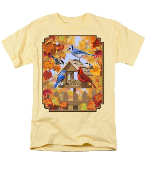 Bird Painting - Autumn Aquaintances Men's T-Shirt  (Regular Fit) by Crista Forest