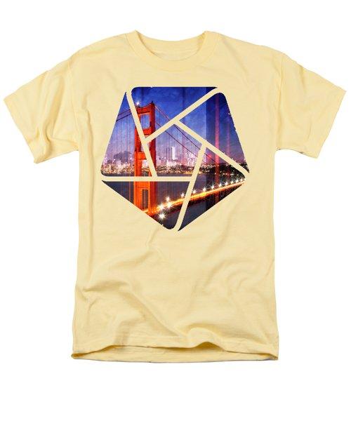 City Art Golden Gate Bridge Composing Men's T-Shirt  (Regular Fit) by Melanie Viola