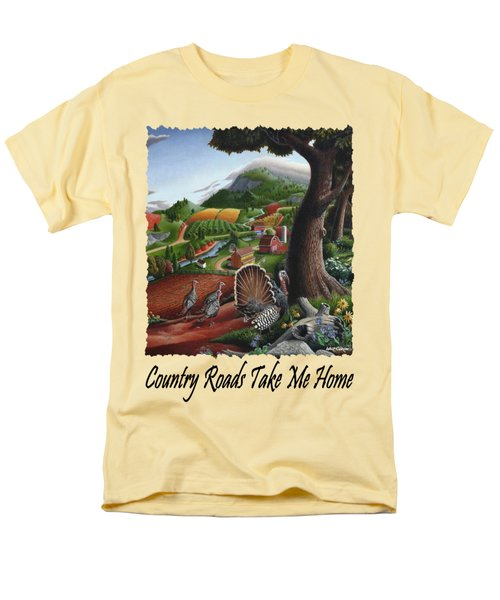 Country Roads Take Me Home - Turkeys In The Hills Country Landscape 2 Men's T-Shirt  (Regular Fit) by Walt Curlee