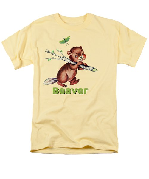Cute Baby Beaver Pattern Men's T-Shirt  (Regular Fit) by Tina Lavoie