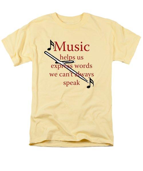 Drum Music Helps Us Express Words Men's T-Shirt  (Regular Fit) by M K  Miller