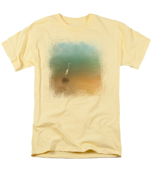 Egret At Sea Men's T-Shirt  (Regular Fit) by Jai Johnson