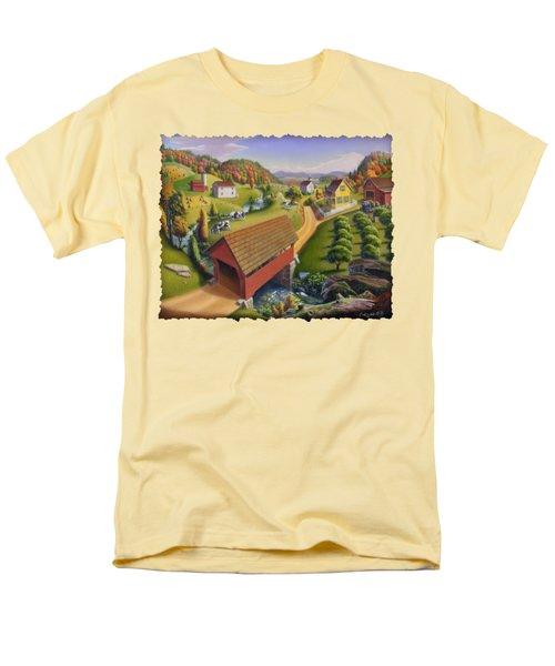 Folk Art Covered Bridge Appalachian Country Farm Summer Landscape - Appalachia - Rural Americana Men's T-Shirt  (Regular Fit) by Walt Curlee