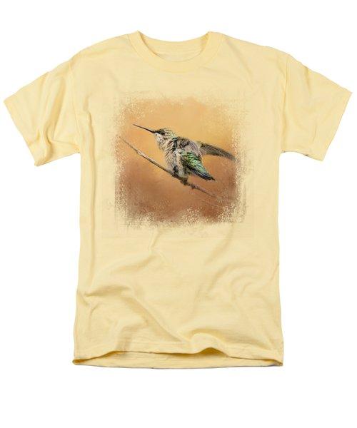 Hummingbird On Peach Men's T-Shirt  (Regular Fit) by Jai Johnson