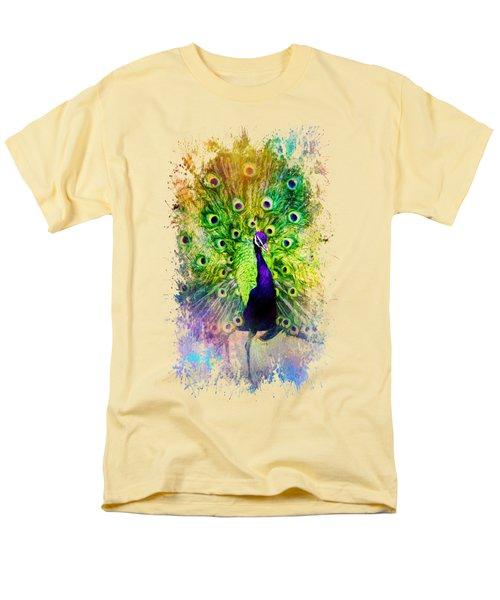 Jazzy Peacock Colorful Bird Art By Jai Johnson Men's T-Shirt  (Regular Fit) by Jai Johnson