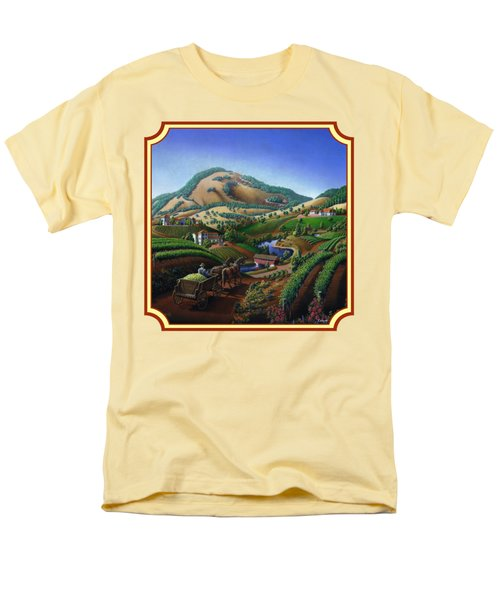 Old Wine Country Landscape Painting - Worker Delivering Grape To The Winery -square Format Image Men's T-Shirt  (Regular Fit) by Walt Curlee