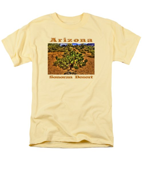 Prickly Pear In Bloom With Brittlebush And Cholla For Company Men's T-Shirt  (Regular Fit) by Roger Passman