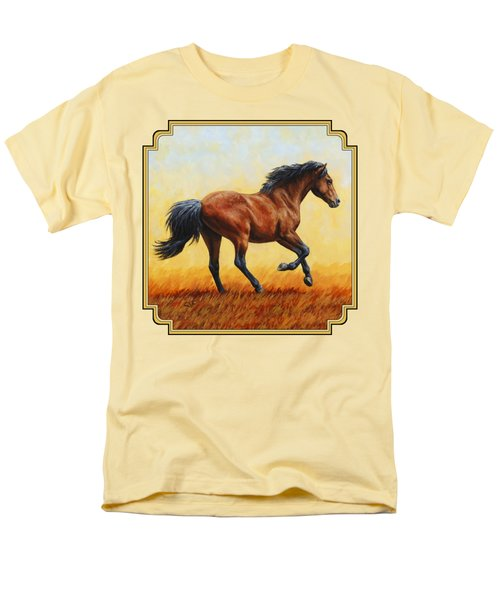 Running Horse - Evening Fire Men's T-Shirt  (Regular Fit) by Crista Forest
