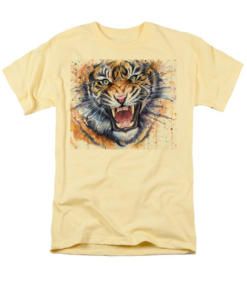Tiger Watercolor Portrait Men's T-Shirt  (Regular Fit) by Olga Shvartsur