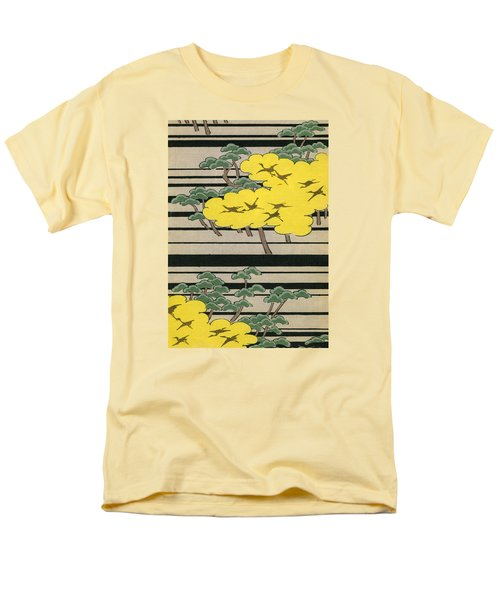 Vintage Japanese Illustration Of An Abstract Forest Landscape With Flying Cranes Men's T-Shirt  (Regular Fit) by Japanese School