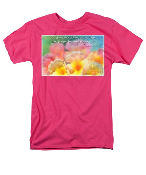 Pink and Yellow Lantana with verse T-Shirt by Debbie Portwood