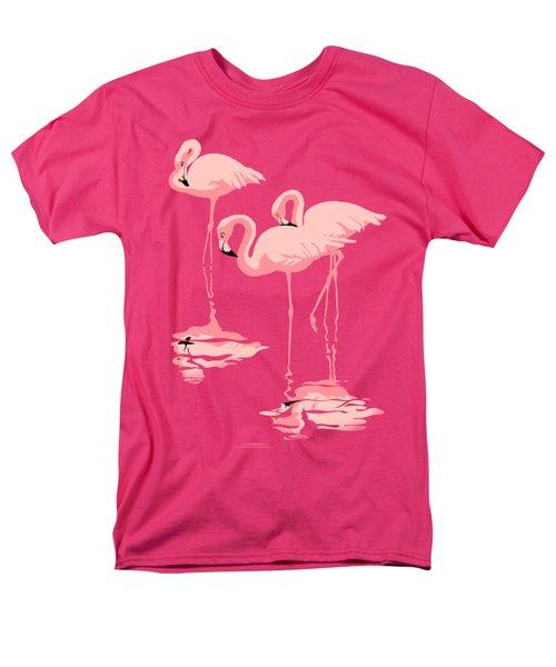 3 Pink Flamingos Abstract Pop Art Nouveau Graphic Art Retro Stylized Florida Men's T-Shirt  (Regular Fit) by Walt Curlee