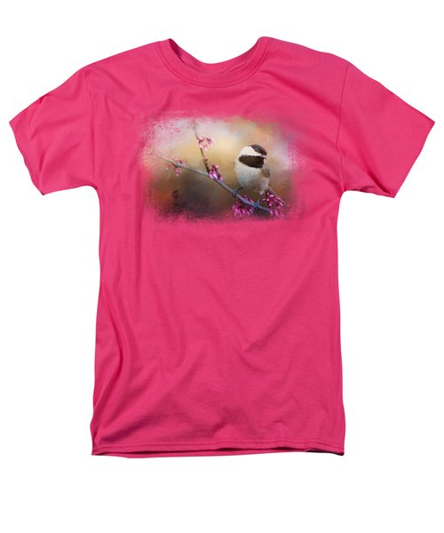 Chickadee And Pink Blooms Men's T-Shirt  (Regular Fit) by Jai Johnson