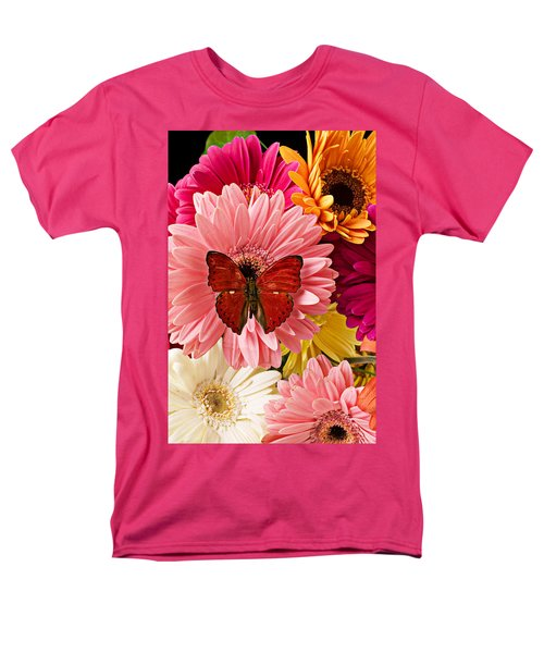 Red butterfly on bunch of flowers T-Shirt by Garry Gay