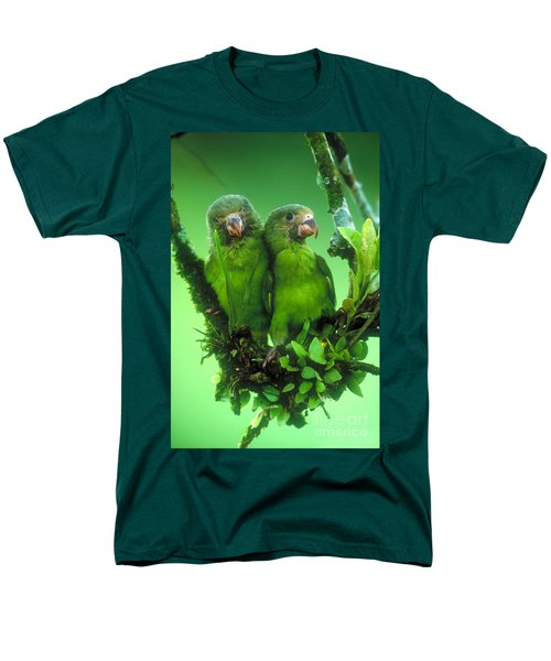 Cobalt-winged Parakeets Men's T-Shirt  (Regular Fit) by Art Wolfe