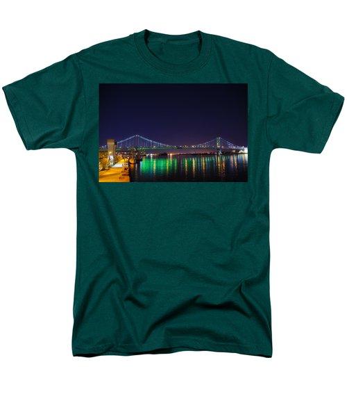 Benjamin Franklin Bridge at Night from Penn's Landing T-Shirt by Bill Cannon