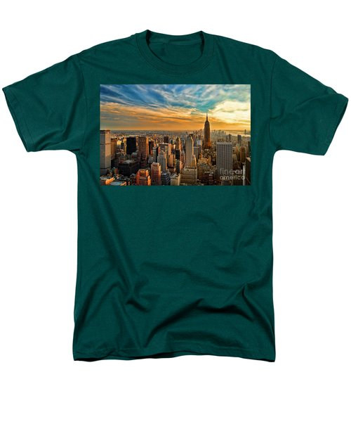 City Sunset New York City Usa Men's T-Shirt  (Regular Fit) by Sabine Jacobs