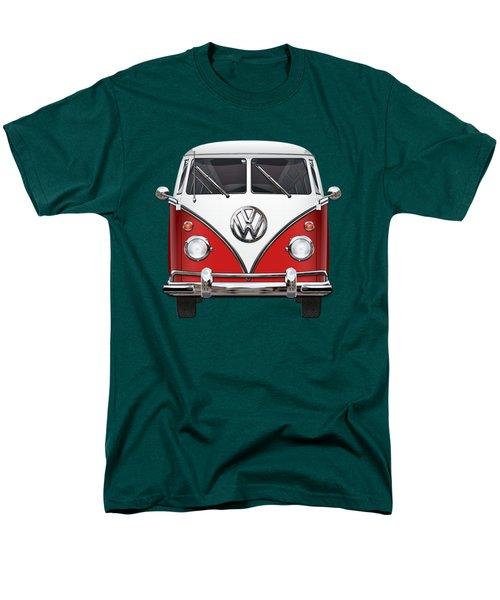 Volkswagen Type 2 - Red And White Volkswagen T 1 Samba Bus Over Green Canvas  Men's T-Shirt  (Regular Fit) by Serge Averbukh
