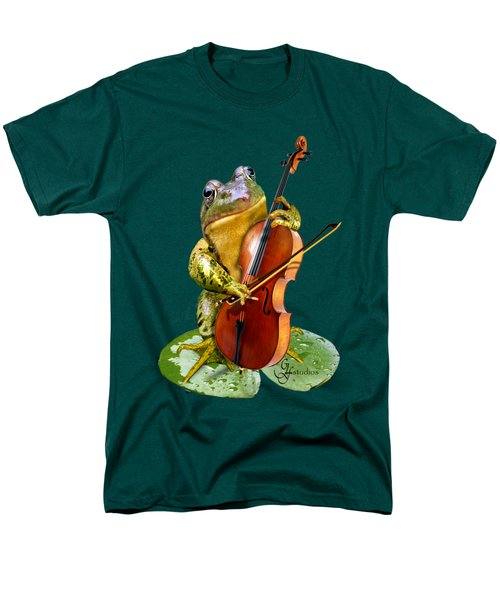 Humorous Scene Frog Playing Cello In Lily Pond Men's T-Shirt  (Regular Fit) by Regina Femrite