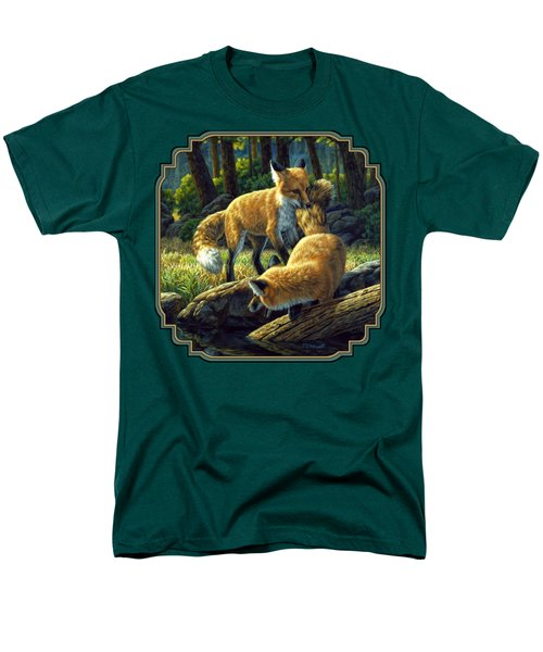 Red Foxes - Sibling Rivalry T-Shirt by Crista Forest