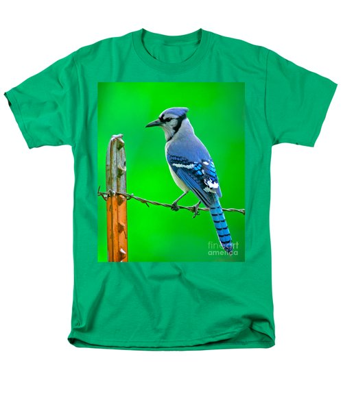 Blue Jay On The Fence Men's T-Shirt  (Regular Fit) by Robert Frederick
