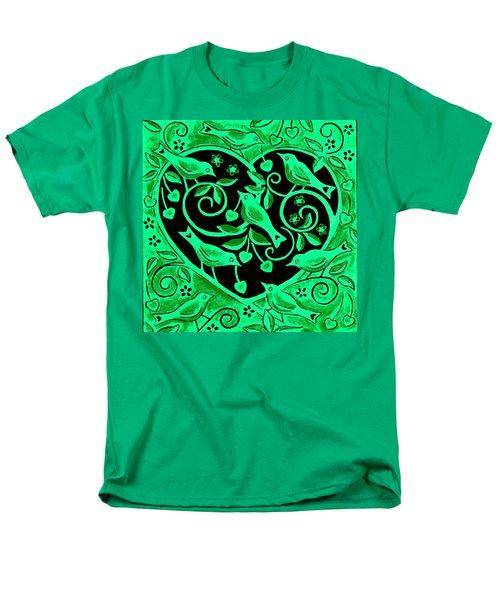 Love Birds, 2012 Woodcut Men's T-Shirt  (Regular Fit) by Nat Morley