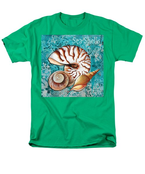 Sea Shells Original Coastal Painting Colorful Nautilus Art by Megan Duncanson T-Shirt by Megan Duncanson