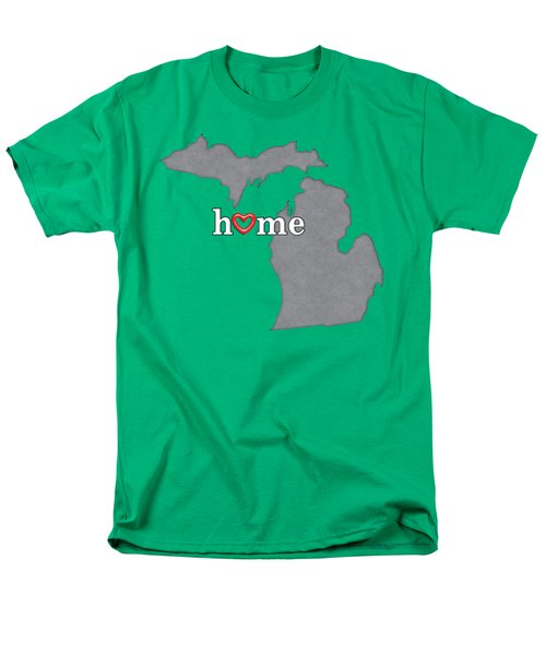 State Map Outline Michigan With Heart In Home Men's T-Shirt  (Regular Fit) by Elaine Plesser