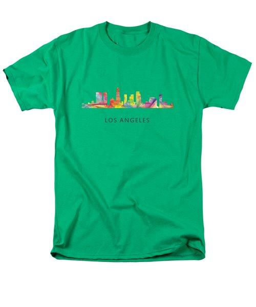Los Angeles California Skyline Men's T-Shirt  (Regular Fit) by Marlene Watson