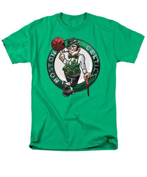 Boston Celtics - 3 D Badge Over Flag Men's T-Shirt  (Regular Fit) by Serge Averbukh