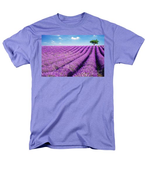 Lavender field and tree in summer Provence France. T-Shirt by Matteo Colombo