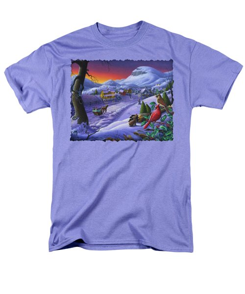 Christmas Sleigh Ride Winter Landscape Oil Painting - Cardinals Country Farm - Small Town Folk Art Men's T-Shirt  (Regular Fit) by Walt Curlee
