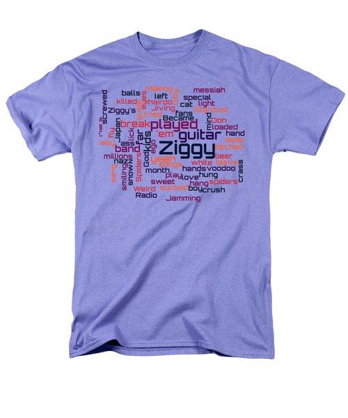 David Bowie - Ziggy Stardust Lyrical Cloud Men's T-Shirt  (Regular Fit) by Susan Maxwell Schmidt