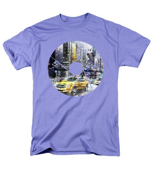 Graphic Art New York City Taxis And Manhattan Skyline Men's T-Shirt  (Regular Fit) by Melanie Viola
