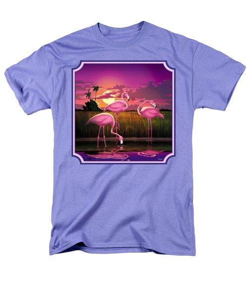 Pink Flamingos At Sunset Tropical Landscape - Square Format Men's T-Shirt  (Regular Fit) by Walt Curlee